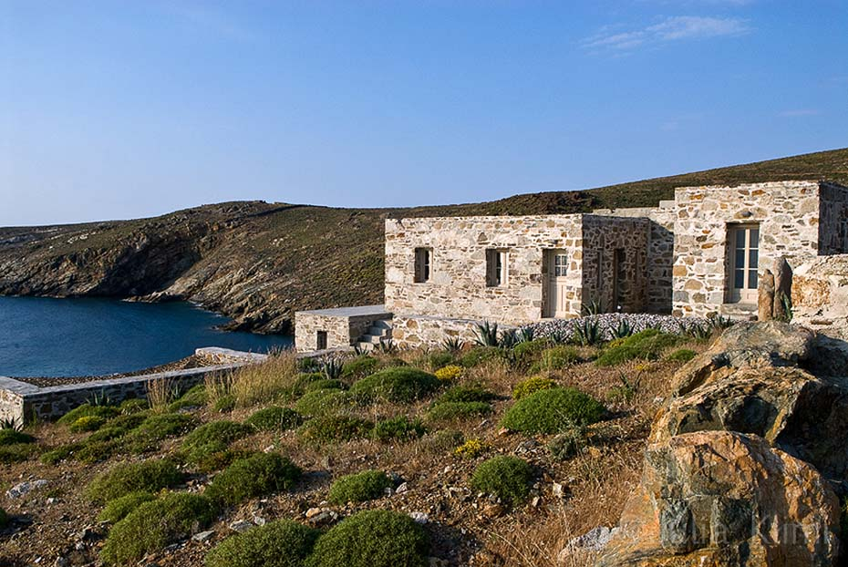 Modern stone house exterior with sea views