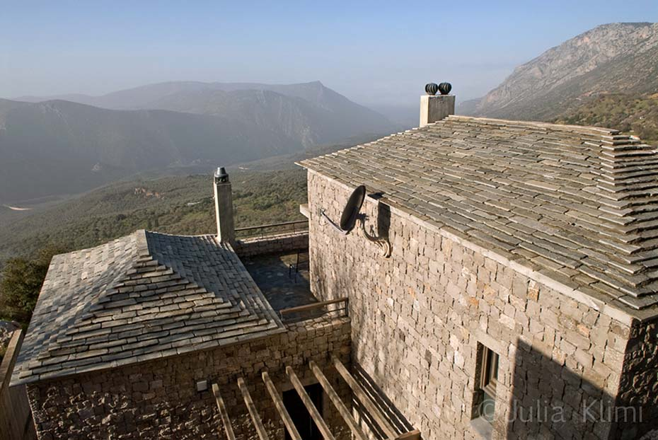Stone house exterior with mountains view