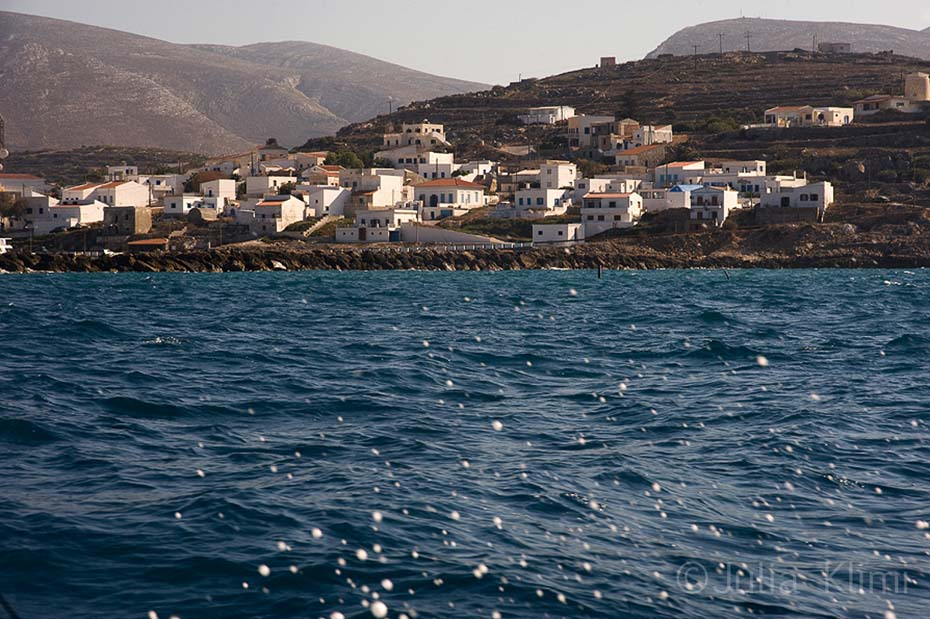 Port of Fry houses from the sea, Kasos island