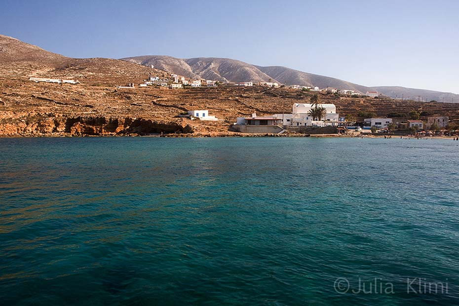 Emborios beach and Panagia village from the sea. Kasos island