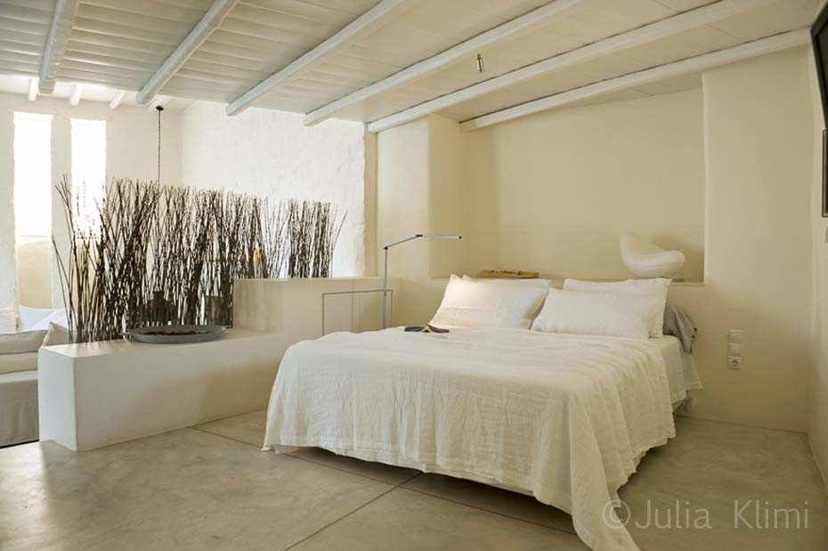 Modern bedroom in open plan living