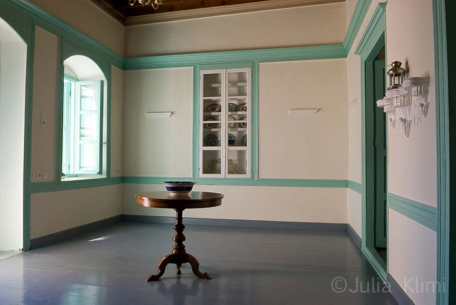 Neoclassical style captain's house room, Fry, Kasos island