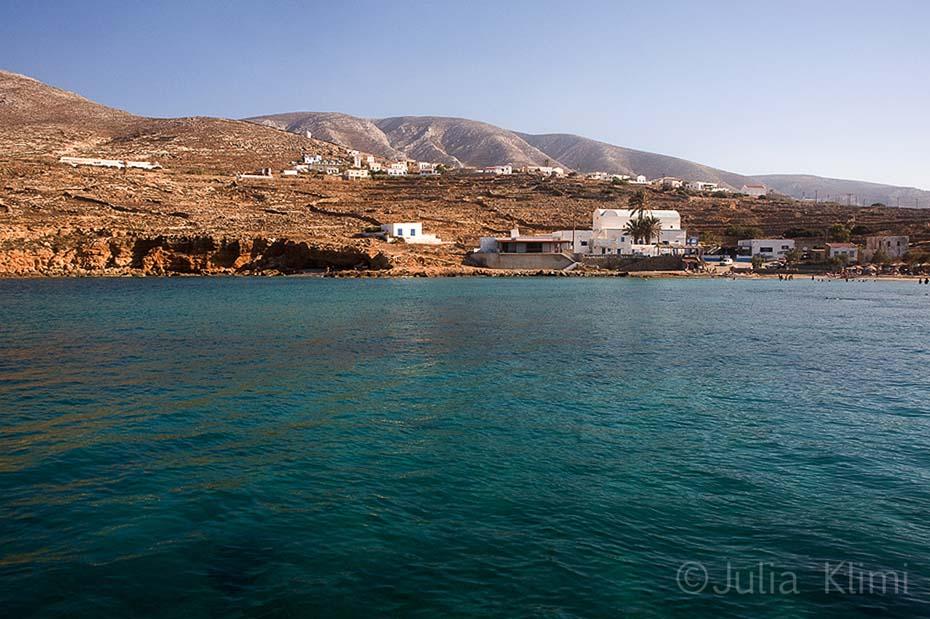Emborios beach and Panagia village from the sea. Kasos island