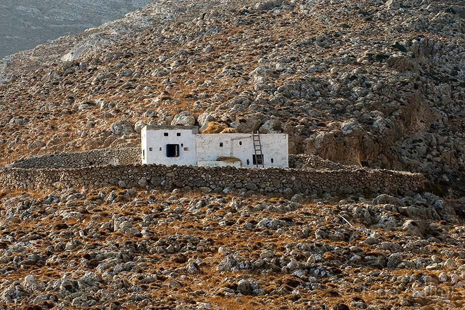 Local style shepherd hut, Oros Prionas, Kassos island, Dodecanese, Greece