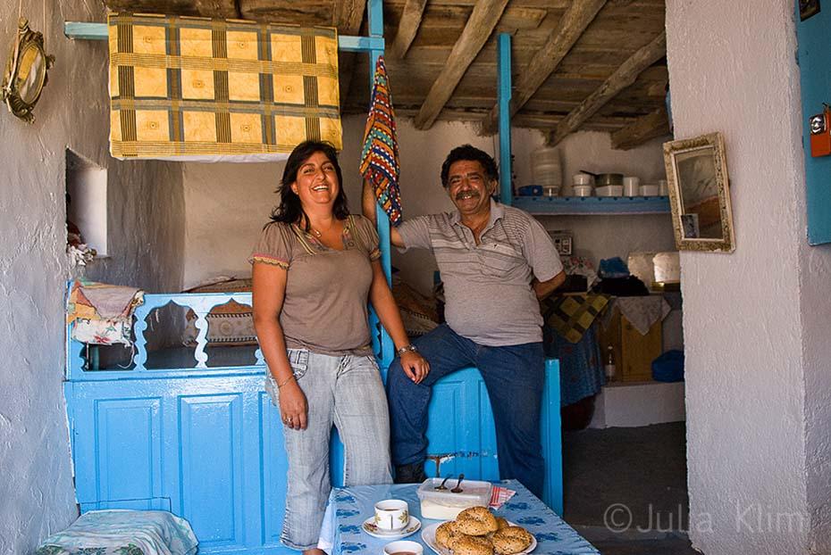 """Couple of shepherds in their """"mitato"""" shepherds' hut, Kasos island"""